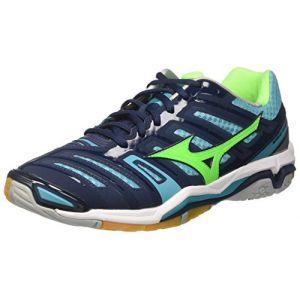 Mizuno Wave Stealth 4, Chaussures de Running Homme, Multicolore (Dressblues/Greengecko/Peacockblue 93), 44.5 EU