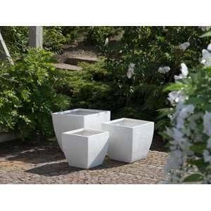 Beliani Lot de 3 cache-pots blancs Oricos