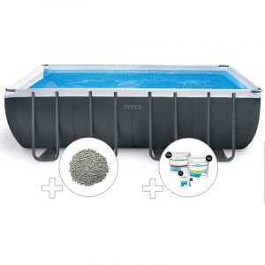 Intex Kit piscine tubulaire Ultra XTR Frame rectangulaire 5,49 x 2,74 x 1,32 m + 20 kg de zéolite + Kit de traitement au chlore