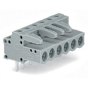 Wago 232-236 - Connecteur femelle coudé gris 6 pôles avec broches à souder sur circuit imprimé pas 5 mm emballage industriel de 50 pc(s)