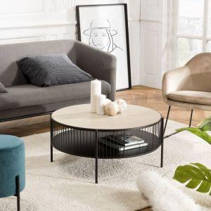 """Macabane Table Basse Ronde Design """"Dot"""" 80cm Naturel & Noir"""