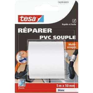 Tesa Adhésif multi-usages PVC souple - blanc - 5 m x 50 mm - Ruban couleur