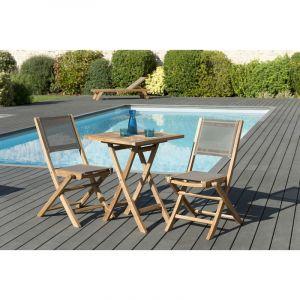 Macabane 1 table carrée pliante 60 x 60 cm - Lot de 2 chaises pliantes en textilène, couleur taupe