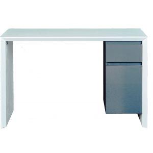 Bureau 1 porte 1 tiroir blanc et gris Mégane