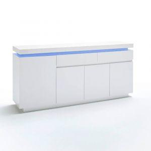 Inside75 Buffet OCEAN laqué blanc brillant 4 portes 2 tiroirs LED blanc  inclus fe743c99cd7f