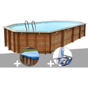 Sunbay Kit piscine bois Sevilla 8,72 x 4,72 x 1,46 m + Bâche hiver + Kit d'entretien