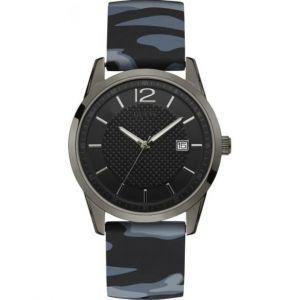 Guess : Montre W0991G6 - PERRY Boitier Acier Noir Bracelet Silicone Bleu et noir Cadran Noir Homme
