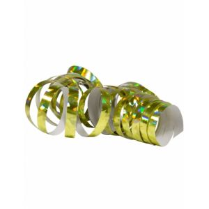 2 Rouleaux de serpentins holographiques dorés 4 m Taille Unique