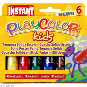 Instant PLAYCOLOR - BASIC ONE - Stick de peinture gouache solide 10 g - 6 couleurs assorties