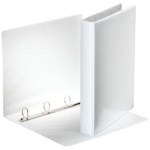 Esselte Classeur 4 Anneaux Personnalisable, Couverture Plastique avec Effet Simili Cuir, Diamètre Anneaux 25mm, A4, Blanc, 49702
