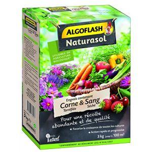 Algoflash NATURASOL Engrais contenant deLa Corne torréfiée et Sang Séché - 3kg