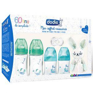 Dodie Coffret naissance 60ans initiation 4 biberons initiation + 1 goupillon + 1 sucette + 1 doudou
