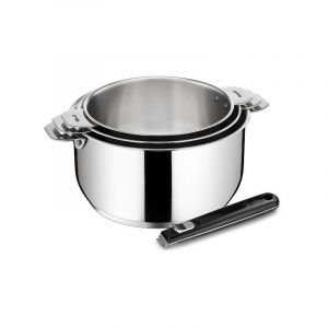 LAGOSTINA Set 3 casseroles 16 / 18 / 20 cm inox + poignée - Salvaspazio