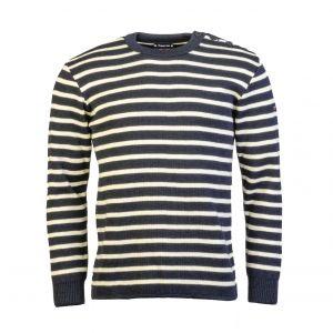 Authentique pull Marin Fouesnant Armor lux 100% laine bleu marine à rayures blanc cassé