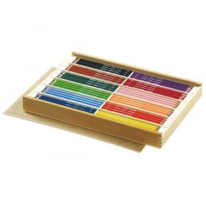Crayon de couleur gros module - coffret bois de 144