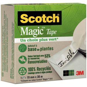 SCOTCH - Rouleau adhésif invisible scotch Magic green, dimensions : 19mm x 30m