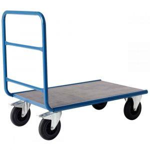 Chariot plateforme 500kg à dossier tubulaire