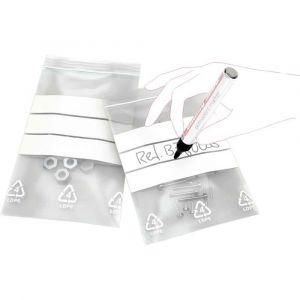 Sachet transparent en Polyéthylène à fermeture Zip avec bande blanche - 160x220mm - B