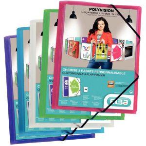 Chemises 3 rabats à élastiques personnalisables 5/10e, format 24 x 32 cm, couleurs as