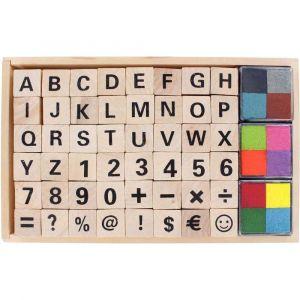 Set de 48 tampons alphabet/chiffre + encreur