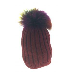 Bonnet - Tricot avec pompon fourrure.