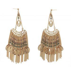 Boulces d'oreilles - Pendantes avec motifs en perles.