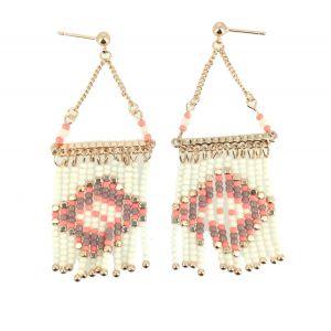 Boucles d'oreilles - Pendantes perles motif losange.