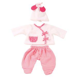 Vêtement pour poupée de 30 à 33 cm : Ensemble de nuit avec bonnet blanc - Fille