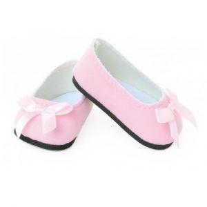 Accessoires pour poupée de 39 à 48 cm : Chaussures ballerines suède roses - Fille