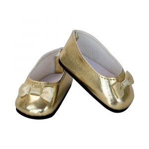 Accessoires pour poupée de 39 à 40 cm : Chaussures ballerines dorées avec noeud doré - Fille