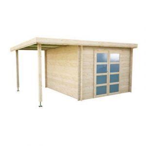Abri de jardin bois + pergola Blooma Skara  10 65 + 5 51 m² ép.28 mm