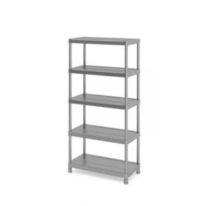 Etagère plastique gris 5 tablettes Major L.90 x H.182 x P.45 cm
