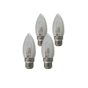 4 ampoules halogènes B22 Flamme 28W=36W Blanc chaud