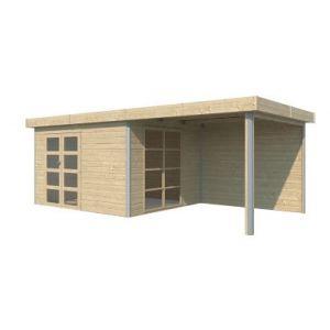 Abri de jardin bois Lindo 2 L + pergola  10 12 m² ép.28 mm