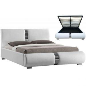 Promo : Lit coffre sommier relevable blanc VITARO 160 cm