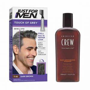 Promo : PACK COLORATION CHEVEUX & SHAMPOING - Gris Châtain Foncé-Just For Men