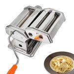 Todeco - Machine à Pâtes, Machine pour Faire des Pâtes - Epaisseur de coupe: 6 réglages d'épaisseur de 0,5 à 3 mm - Matériau: Acier inoxydable - Spaghettis, tagliatelles, lasagnes (Wizideal, neuf)