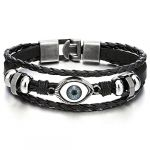 COOLSTEELANDBEYOND Trois Rangées Noir Cuir Mauvais Oeil Charms Bracelet - Homme Femme Envelopper Bracelet (Cool Steel and Beyond, neuf)