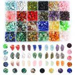 Colle Perles en pierre précieuse broyées irrégulières pour la fabrication de bijoux, collier, bracelet, bague (24 couleurs) (multicolore) (Warriors Go, neuf)