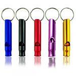 5pcs petit sifflet (rouge, jaune, noir, bleu, violet) extérieur pour Randonnée camping Escalade en alliage d'aluminium sifflet, pendentif de porte-clés de l'arbitre de sauvetage petit cadeau décoratio (Eamasawa, neuf)