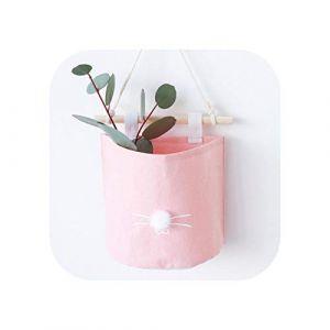 Organisateur de sac cosmétique |Dessin animé suspendu sac de rangement coton lin armoire suspendre sac pochette murale cosmétique jouet organisateur ménage multifonction stockage B (trinh4787, neuf)