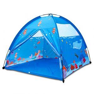 Homfu Tente Tunnel Enfant, Pop-up Exterieur Intérieur + Sac de Rangement , 3 en 1 Bleu Foncé (Boule Pit) … (Bleu Clair) (EBOUREU, neuf)