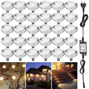 Spot à Encastrable Lampe de sol-Lumière (Blanc Chaud) étanche IP67 1.5W DC12V Ø61mm-éclairage pour terrasse, patio, chemin, mur, jardin, décoration, intérieur et extérieur (INDARUN-EU, neuf)