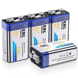 EBL Lot de 4 Piles Rechargeables 9V NI-MH 280mAh 9V Batterie avec 1200 Cycles (EBL Official, neuf)