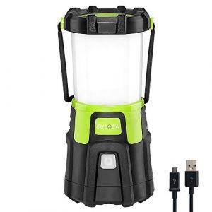 EULOCA 1200lm Lampe Camping Rechargeable 4400mAh, Dimmable 4 Modes, lanterne de camping,Torche pour Eclairage Extéieur, Camping, Bivouac, Maison, Bricolage, avec Câble USB (MyGica, neuf)