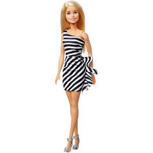 Barbie Fashionistas 60ème Anniversaire Poupée Mannequin Blonde avec Robe Rayée Noire et Blanche et Talons Hauts Gris, Jouet pour Enfant, GFJ85 (QuickDeliveryDwayne, neuf)