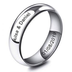 MeMeDIY 6mm Ton d'argent Acier Inoxydable Anneau Bague Bague Mariage Amour Taille 62 - Gravure personnalisée (MeMeDIY, neuf)