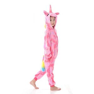 FMDD Pyjama Licorne Enfants Kigurumi Pyjamas Enfants De Cosplay Onesies Licorne Costume (B - Licorne Star Rose, 140 / Hauteur 136-145cm) (sunbaby, neuf)
