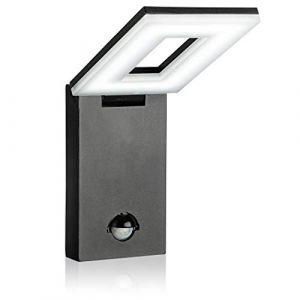 SEBSON® Luminaire exterieur detecteur de mouvement, Lampe Murale LED, Design, noir, blanc froid 6500K, 12W, 650lm, Applique murale LED, 298x100x26mm (SEBSON, neuf)