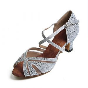 Syrads Chaussures de Danse Femmes Latine Salsa Tango Valse Bachata Moderne Chaussures Danse De Salon avec des Strass 1050 (Syrads, neuf)